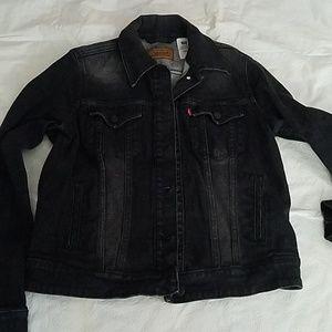Levi Strauss Distressed Black Jean Jacket Sz LG